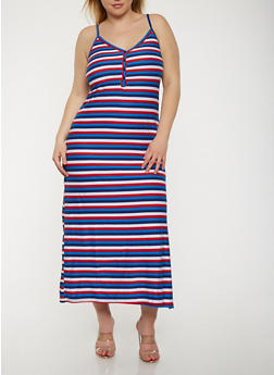 Plus Size Striped Tank Maxi Dress - NAVY - 0390038348925