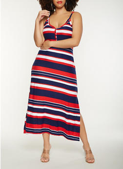 Plus Size Striped Tank Maxi Dress - 0390038348926