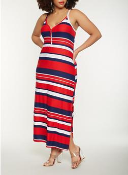 Plus Size Striped Tank Maxi Dress - RED - 0390038348926