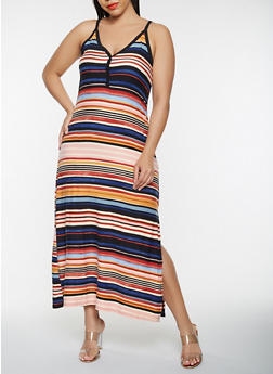Plus Size Striped Tank Maxi Dress - 0390038348927