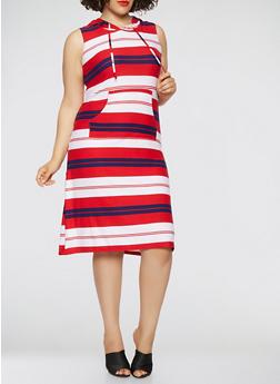 Plus Size Americana Striped Midi Tank Dress - RED - 0390038348930
