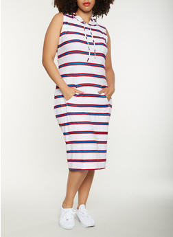 Plus Size Striped Hooded Tank Dress - WHITE - 0390038348932