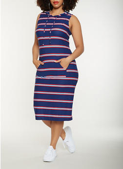 Plus Size Striped Hooded Tank Dress - 0390038348932