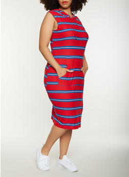 Plus Size Striped Hooded Tank Dress - RED - 0390038348932