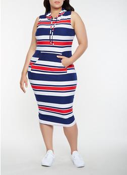 Plus Size Hooded Midi Tank Dress - 0390038348933