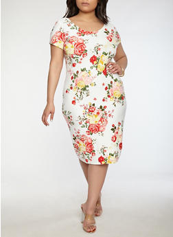 Plus Size Soft Knit Floral Dress - 0390038348953