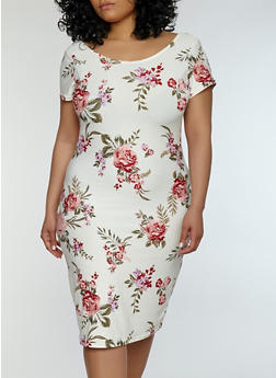 Plus Size Floral Soft Knit Bodycon Dress - 0390038348954