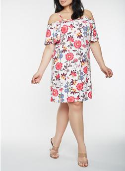 Plus Size Floral Cold Shoulder Dress - 0390038348973