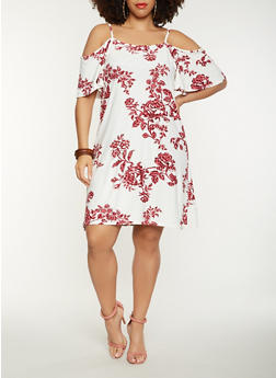 Plus Size Floral Cold Shoulder Midi Dress - 0390038348974