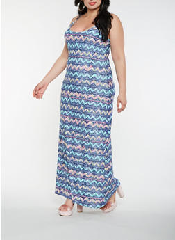 Plus Size Printed Tank Maxi Dress - 0390038348978