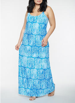 Plus Size Printed Tank Maxi Dress - 0390038348979