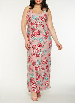 Plus Size Floral Tank Maxi Dress - 0390038348980