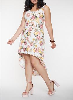 Plus Size Floral High Low Tank Dress - 0390038348985