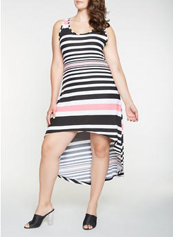 Plus Size Striped High Low Tank Dress - 0390038348986