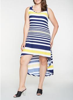 Plus Size Striped High Low Tank Dress - 0390038348986