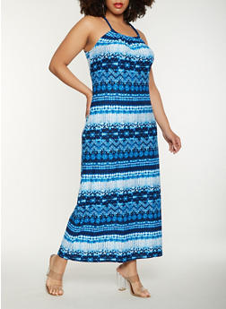 Plus Size Printed Tank Maxi Dress - 0390038348992