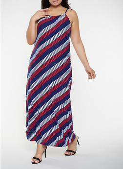 Plus Size Striped Tank Maxi Dress - 0390038348995