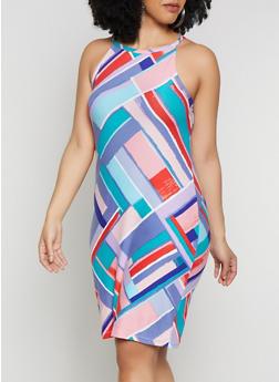 Plus Size Soft Knit Multi Color Tank Dress - 0390038349035