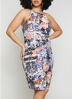Plus Size Floral Print High Neck Tank Dress - 0390038349036
