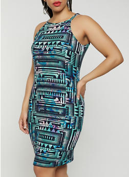 Plus Size Soft Knit Printed Midi Dress - 0390038349039