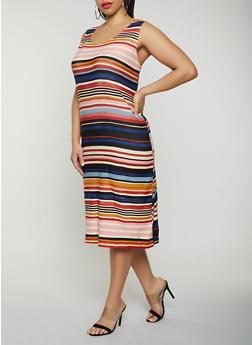 Plus Size Striped Tank Dress | 0390038349044 - 0390038349044