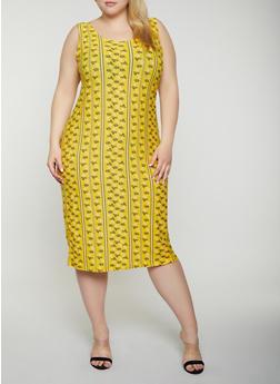 Plus Size Flower Print Tank Dress - 0390038349045
