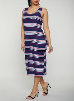 Plus Size Striped Tank Dress | 0390038349046 - 0390038349046
