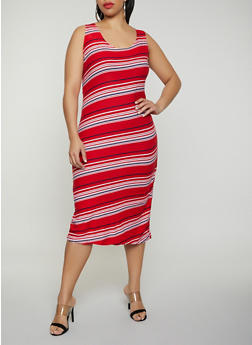 Plus Size Striped Tank Dress | 0390038349046 - 0390038349046