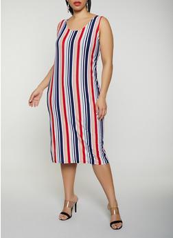 Plus Size Vertical Stripe Tank Dress | 0390038349047 - 0390038349047