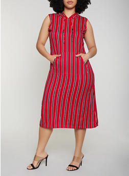 Plus Size Striped Hooded Midi Dress - 0390038349052