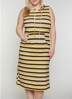 Plus Size Striped Soft Knit Hooded Dress - 0390038349053