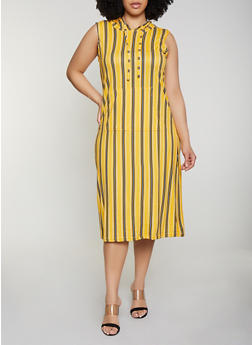 Plus Size Soft Knit Striped Hooded Tank Dress - 0390038349054