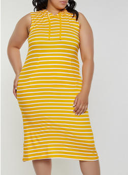 Plus Size Striped Soft Knit Midi Dress - 0390038349055