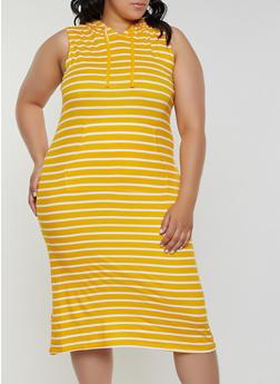 Plus Size Striped Soft Knit Midi Dress - 0390038349055