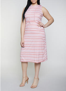 Plus Size Hooded Tank Dress - 0390038349056