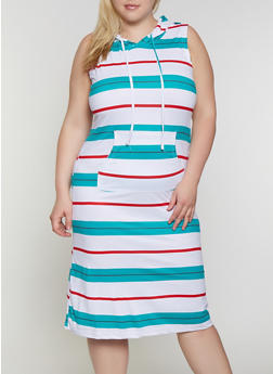 Plus Size Hooded Striped Midi Dress - 0390038349057