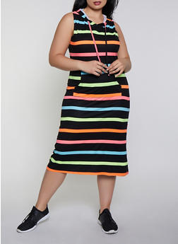 Plus Size Neon Stripe Hooded Tank Dress - 0390038349059