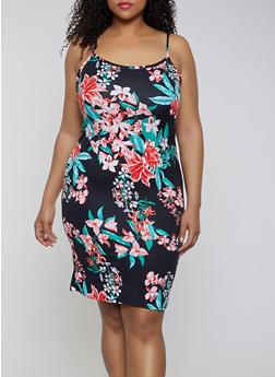 Plus Size Soft Knit Floral Cami Dress - 0390038349067