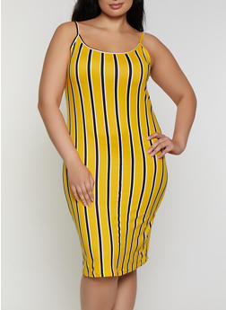 Plus Size Striped Cami Bodycon Dress - 0390038349069