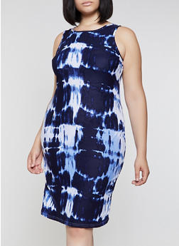 Plus Size Midi Tie Dye Tank Dress - 0390038349071