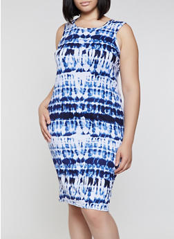Plus Size Soft Knit Tie Dye Tank Midi Dress - 0390038349073