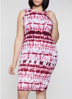 Plus Size Soft Knit Tie Dye Tank Midi Dress - 0390038349073