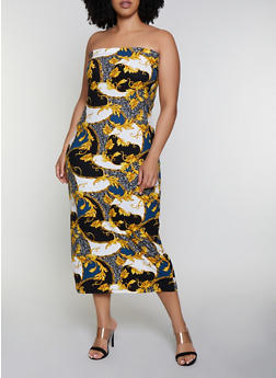 Plus Size Baroque Print Tube Dress - 0390038349078