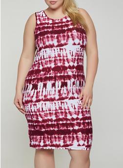 Plus Size Soft Knit Tie Dye Tank Dress - 0390038349453
