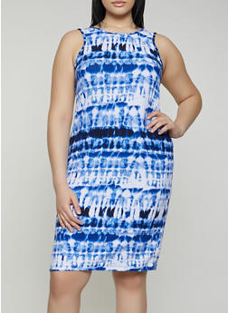 Plus Size Soft Knit Tie Dye Tank Dress - 0390038349453