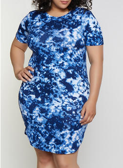 Plus Size Tie Dye Soft Knit T Shirt Dress - 0390038349458