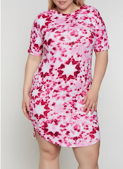 Plus Size Tie Dye Star Print T Shirt Dress - 0390038349459