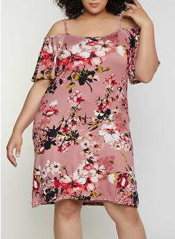 Plus Size Floral Soft Knit Cold Shoulder Dress - 0390038349469