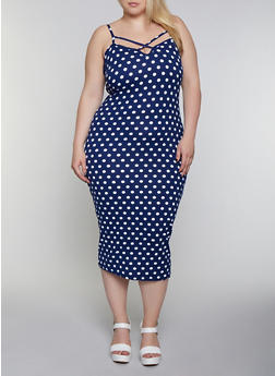 Plus Size Caged Neck Polka Dot Dress - 0390038349472
