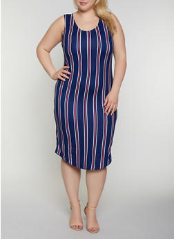 Plus Size Soft Knit Striped Midi Tank Dress - 0390038349474